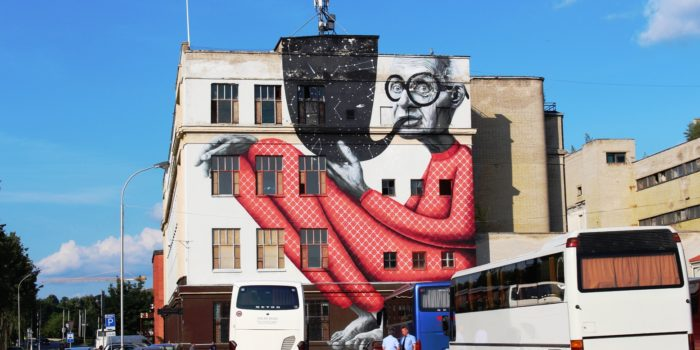 The Old Wise Man mural in Kaunas