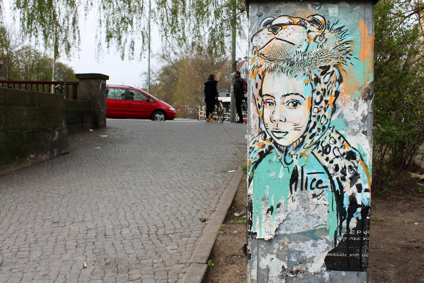 "Street Art by AliCé aka. Alice Pasquini ""Boy in costume"" in Berlin"