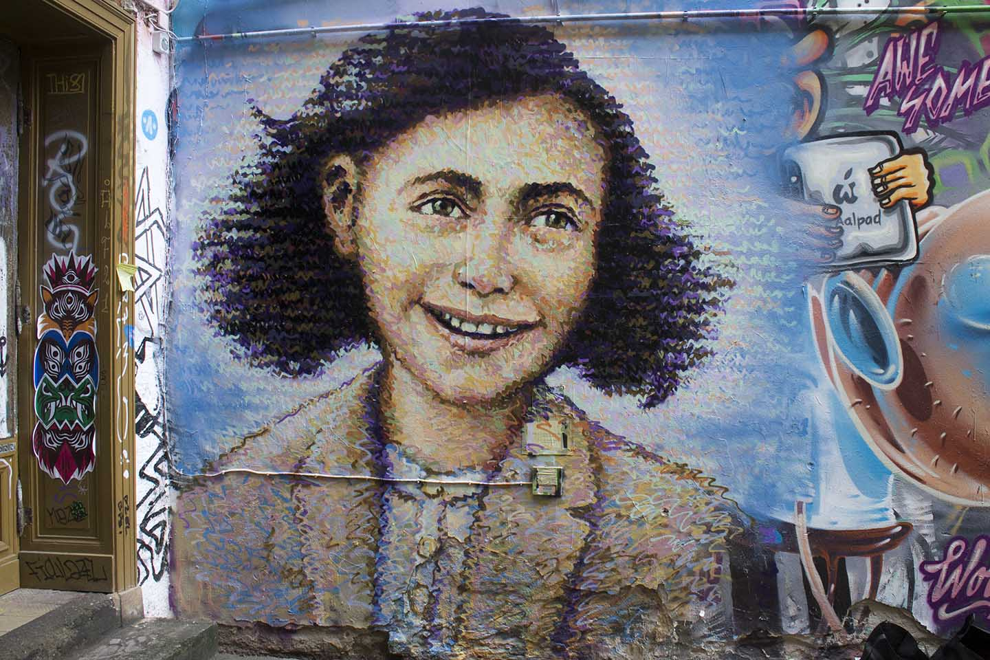 London based Street Artist Jimmy C. painted a mural of Anne Frank in Berlin