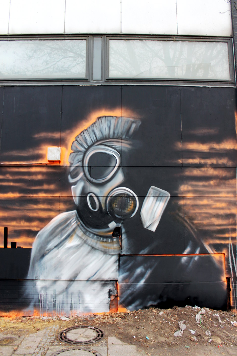 Big freehand sprayed Street Art by Plotbot KEN at Stattbad Wedding Berlin