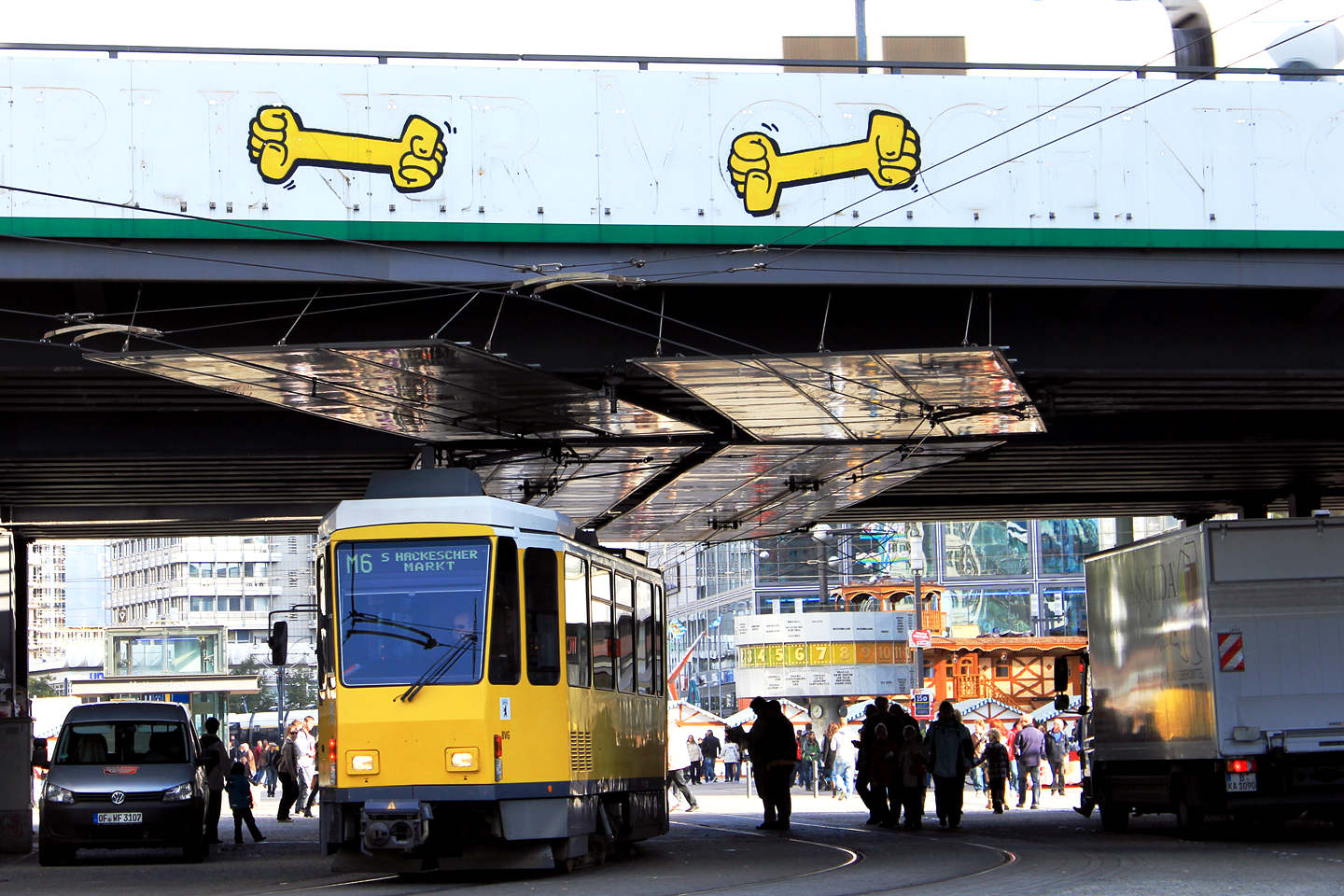 Yellow Fists (Gelbe Fauste) by Kripoe CBS Crew (Cowboys) at Alexanderplatz in Berlin. Graffiti photo by Street Art Berlin