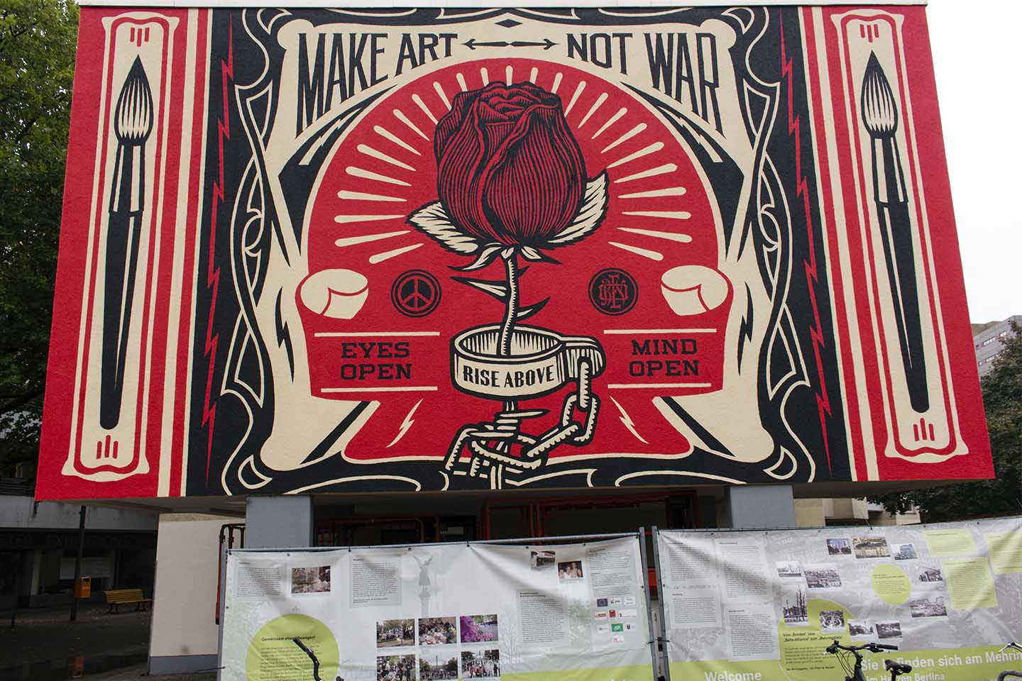 Make Love Not War Streetart Mural by Shepard Fairey aka Obey in Berlin
